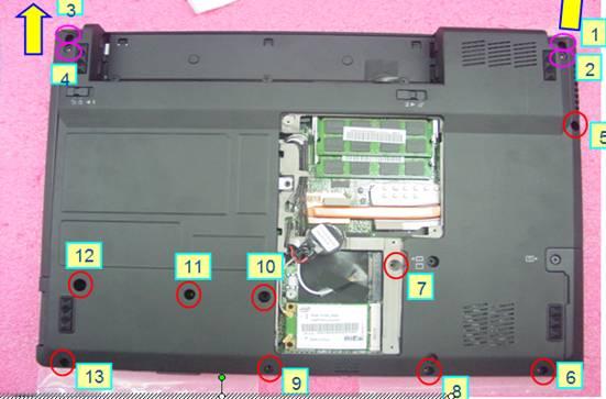 断开cmos电池的连接线,撕除背胶,从下盖上去出,; 联想笔记本拆卸图解
